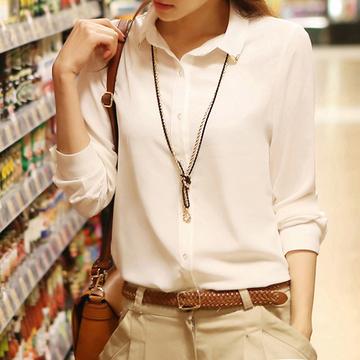 春秋装新款韩版女士长袖衬衫女装白色雪纺衫打底衫女修身上衣百搭