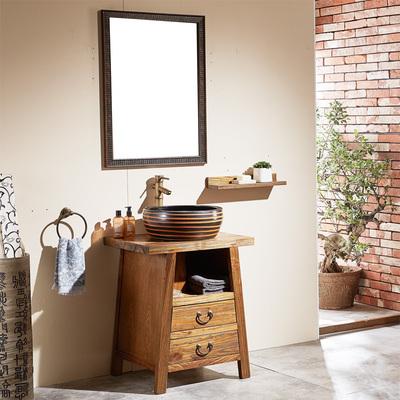 古古拉风现代中式仿古浴室柜组合 实木落地小户型镜柜洗脸盆柜