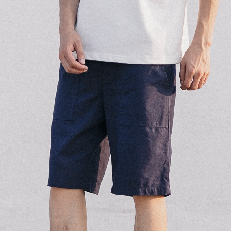GBOY夏季日系原宿风亚麻短裤男青年纯色简约薄款水洗chic宽松中裤