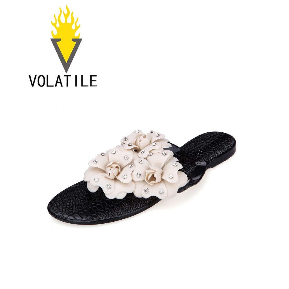 水钻花朵平底凉鞋