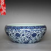 景德镇陶瓷器古典缠枝青花笔洗装饰瓷缸水仙花盆水浅大号乌龟鱼缸
