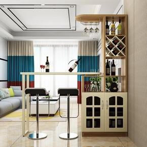 现代家用多功能玄关旋转家用吧台桌椅组合酒柜酒架客厅隔断玄关柜