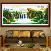 纯手工十字绣成品金蟾招财八方聚财客厅大幅山水风景画绣好的出售