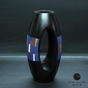 泰国进口芒果木实木台面花瓶新古典创意工艺品客厅客居摆件缪思廊