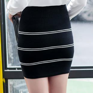 秋冬高腰毛线针织短裙弹力打底裙大码包臀裙女显瘦半身裙一步裙