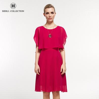 斯尔丽瑟俪 夏装新款纯色女宽松中长款百褶雪纺飘逸连衣裙