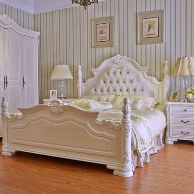 欧式床双人床实木床1.8米1.5白色公主田园床奢华软靠雕花婚床卧室领取优惠券
