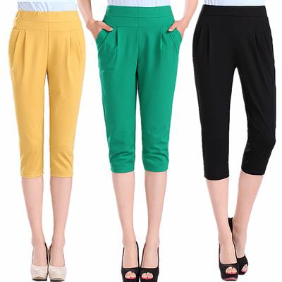 纯棉女裤7分裤 哈伦裤大码夏季女装中年高腰裤子棉弹女士薄款弹力