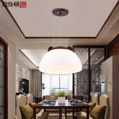 欧仕顿灯饰简约实木中式吊灯单头亚克力灯中式灯餐厅客厅过道灯具