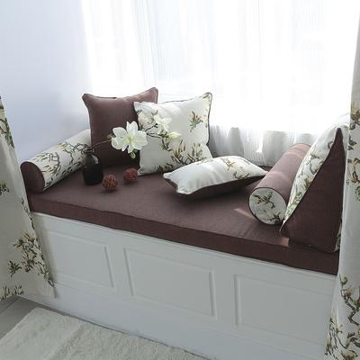 温佩盾美式亚麻飘窗垫榻榻米窗台垫定做卧室高密度海绵沙发垫订做