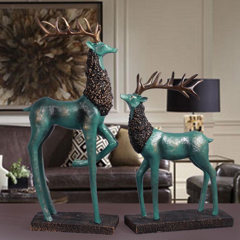 欧式现代客厅玄关酒柜装饰品摆件电视柜麋鹿摆件家居家装摆设5元优惠券