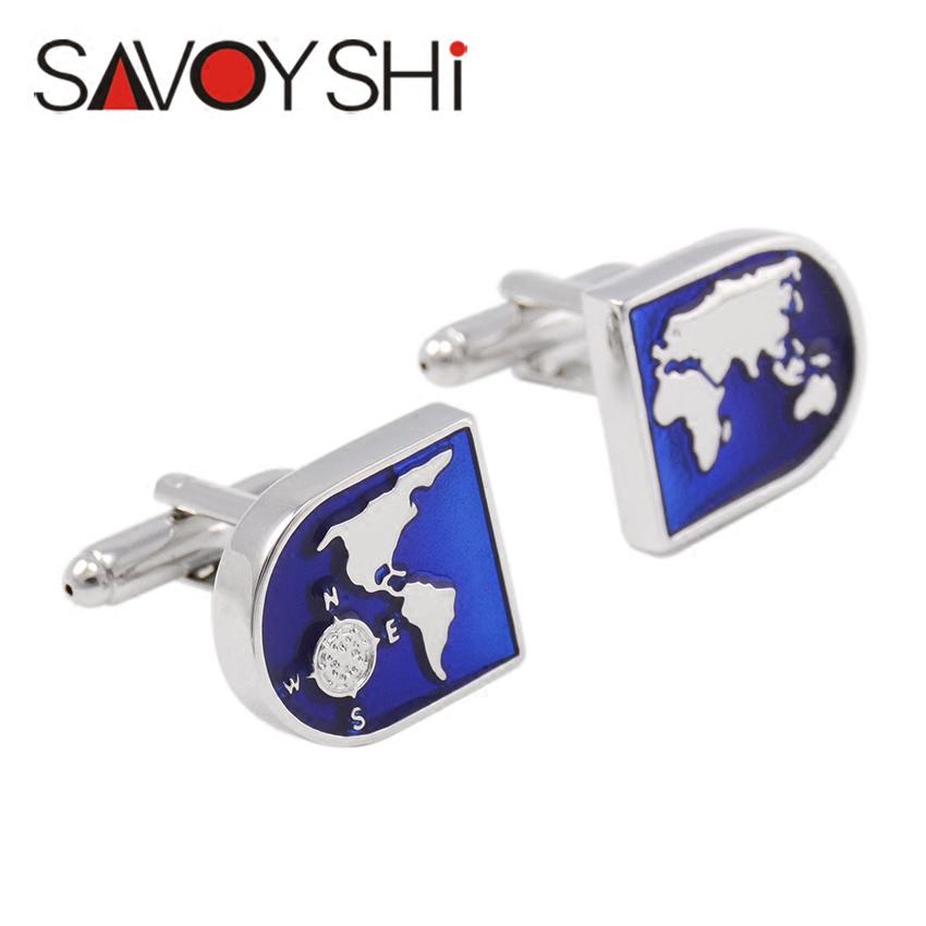 包邮萨瓦仕高档蓝色世界地图袖扣男士法式衬衫袖口衬衣袖钉女定做
