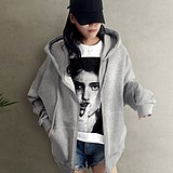 Now The Korean autumn new coat solid color loose hooded zippered sweater women's cardigan top spring