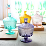 Yanya Xuan European-style retro relief candy can stained glass ice cream bowl household kitchen storage tank condiment cans