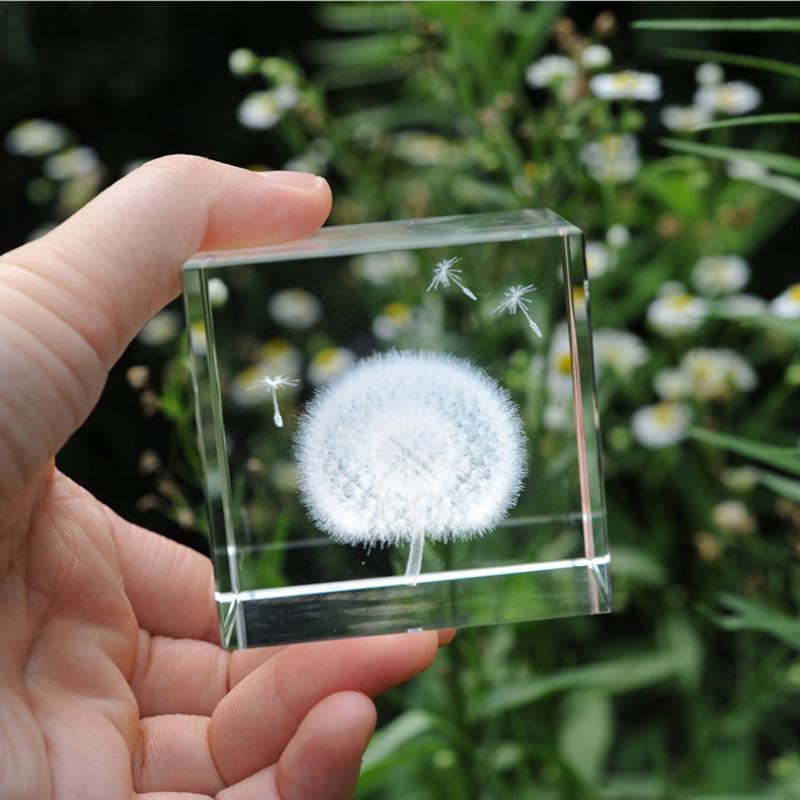 水晶蒲公英标本七夕情人节礼物送女友闺蜜实用创意生日礼物