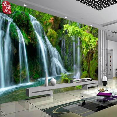 定做高山流水生财山水风景画电视沙发背景墙墙纸壁纸无缝整张壁画哪个品牌好