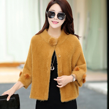 Autumn and winter new ladies short cardigan sweater thick sweater wild velvet jacket large size plush shawl solid color