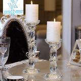 欧式水晶玻璃蜡烛台烛光晚餐婚庆婚礼烛台道具餐桌装饰烛台摆件