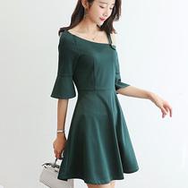 彩黛妃2017夏季新款女装韩版百搭性感气质修身纯色显瘦休闲连衣裙