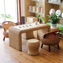 藤编茶几矮凳现代简约阳台桌子桌椅组合客厅创意日式茶道草编茶桌