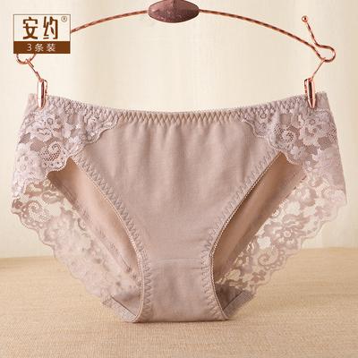 买3送2 中低腰纯棉女士内裤 全棉裆无痕舒适包臀性感蕾丝边三角裤