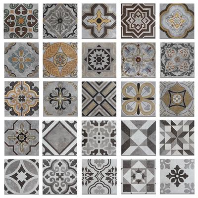 意大利复古水泥花砖灰色瓷砖花片餐厅几何仿古砖拼花墙地砖200mm