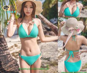 聚拢大胸比基尼绿色网布vs比坚尼海边分体游泳衣性感女泳装bikini