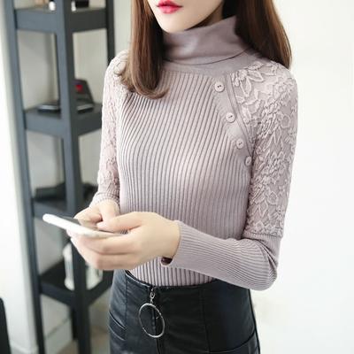 秋冬新款短款半高领毛衣打底衫女肩部蕾丝套头加厚修身显瘦针织衫