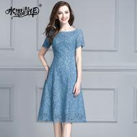 水墨青华夏装新款气质时尚通勤短袖中长A字裙修身蕾丝连衣裙
