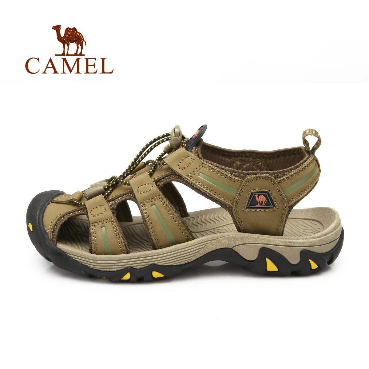 CAMEL駱駝戶外沙灘鞋 男女情侶款春夏頭層牛皮防撞耐磨涼鞋
