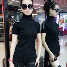 19 autumn and winter knitted sweater short sleeve high collar Pullover pile collar stretch body-shaping half sleeve sweater with pure color