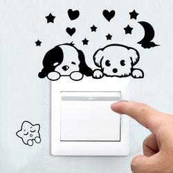 三丰可移除墙贴小动物开关贴纸可爱卡通插座装饰贴画家居饰品
