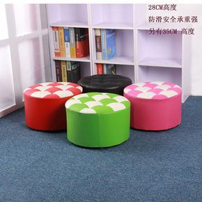 创意小皮圆凳沙发凳板凳茶几凳墩服装店试衣间凳矮凳换鞋凳