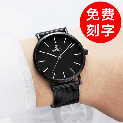 手表男学生韩版简约潮流休闲时尚防水钢带皮带石英男士手表男表哪里便宜