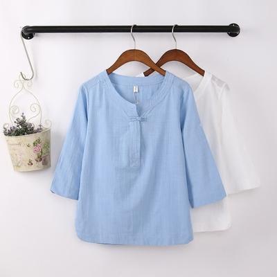2019年夏款棉麻女装衬衫七分袖亚麻短袖宽松民族风盘扣T恤上衣女