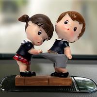 创意卡通汽车摆件车载可爱情侣娃娃摆饰小公仔车内装饰用品内饰品