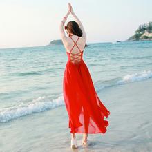 2017夏季新品性感露背吊带雪纺连衣裙海边度假沙滩裙波西米亚长裙