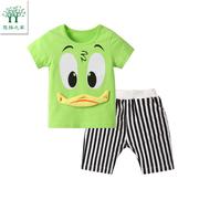 2018新款男宝宝短袖套装婴儿T恤裤子一二3三4两5岁男童儿童夏装潮