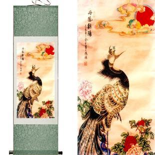 精品礼品画挂画办公室客厅走廊壁画卷轴画丝绸画丹凤朝阳画花鸟画