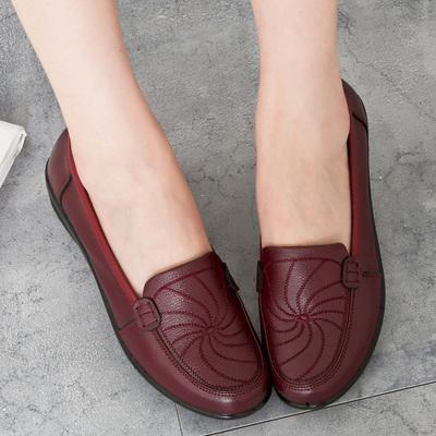 中老年妈妈鞋真皮软底单鞋中年女鞋老人奶奶妇女舒适平底皮鞋夏季