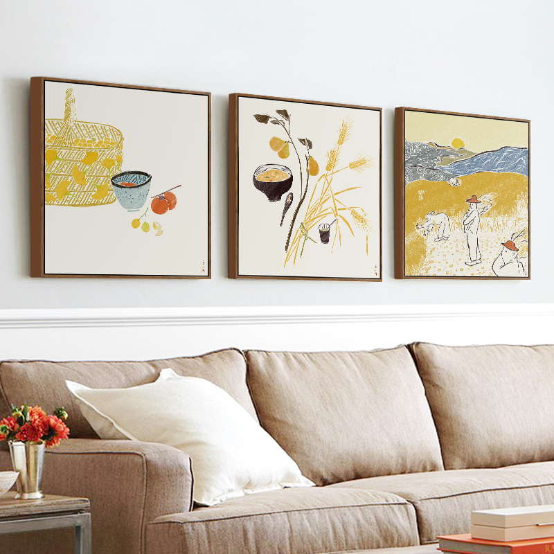 现代中式装饰画客厅三联