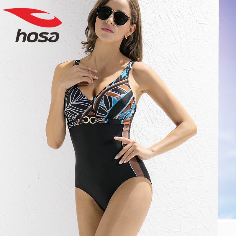 浩沙女士连体三角游泳衣保守显瘦遮肚专业运动性感连体泳衣女5元优惠券