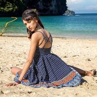 或许复古度假风沙滩裙波西米亚性感露背连衣裙吊带裙子