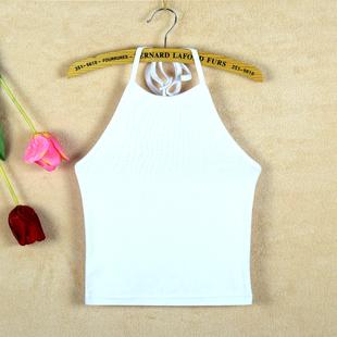 纯棉挂脖小吊带高腰高领抹裹胸背心女打底衫夏露脐短款系带肚兜