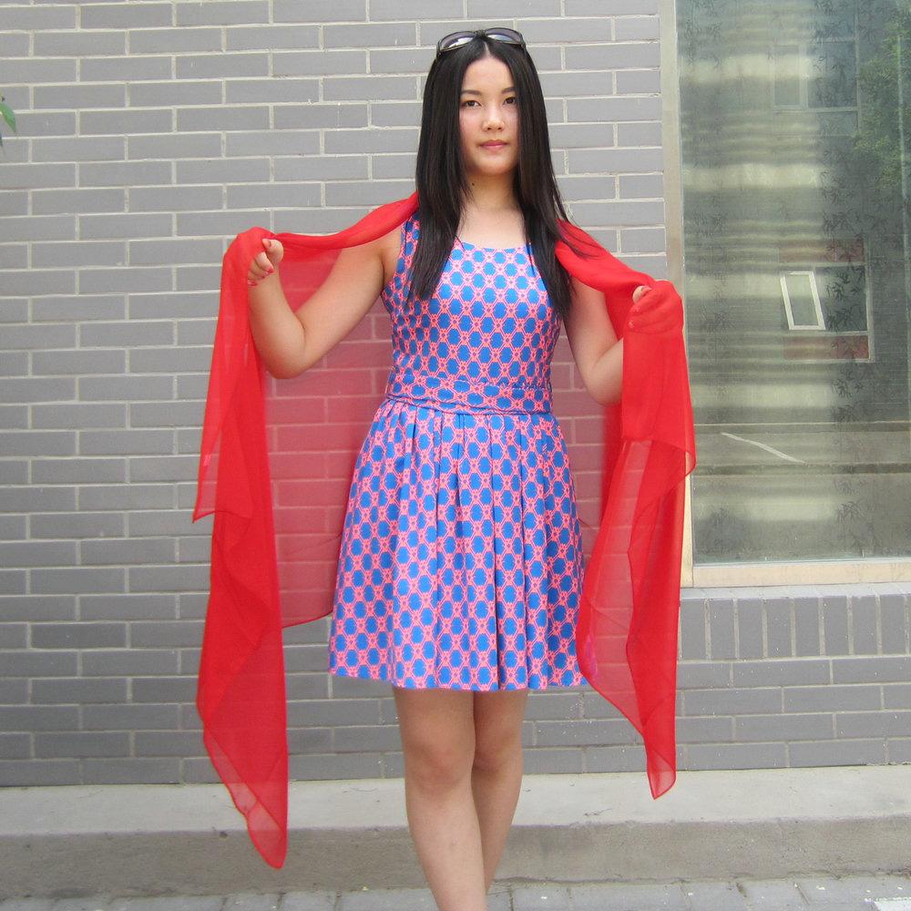 纯红色围巾超长