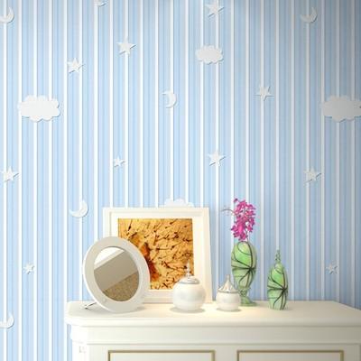 儿童房环保无纺布墙纸竖条纹星星月亮蓝色绿色粉色紫色米黄色壁纸正品热卖