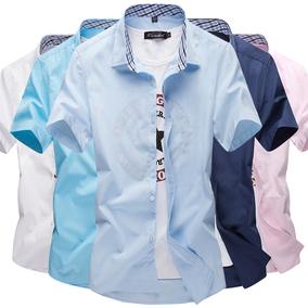 夏季短袖薄款男士衬衫纯色大码青年休闲衬衣修身学生寸衫男装潮白