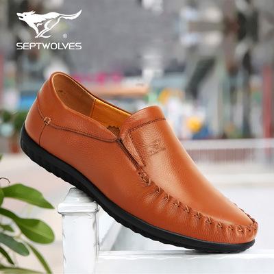 七匹狼男鞋懒人驾车鞋透气鞋子一脚蹬套脚真皮男士休闲鞋豆豆鞋男
