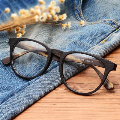 复古圆框木质眼镜框九十男潮女近视板材仿木纹全框圆形超轻眼镜架