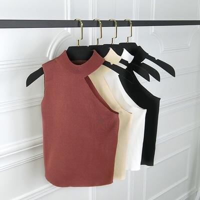 2019夏季女装新款韩版纯色百搭不规则露肩小背心无袖针织打底上衣